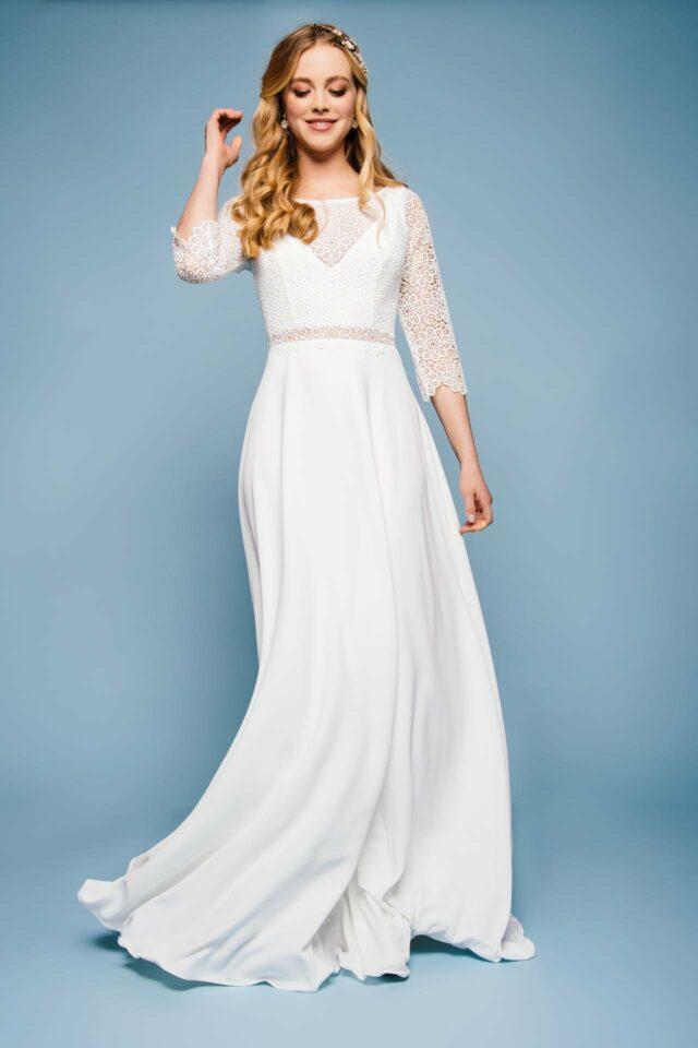 Brautkleid in Spitze mit Ärmel – Vintage Bolero Look – Gretchen