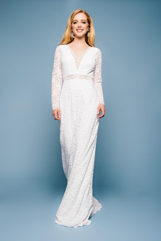 Vintage Langarm Brautkleid mit V-Ausschnitt
