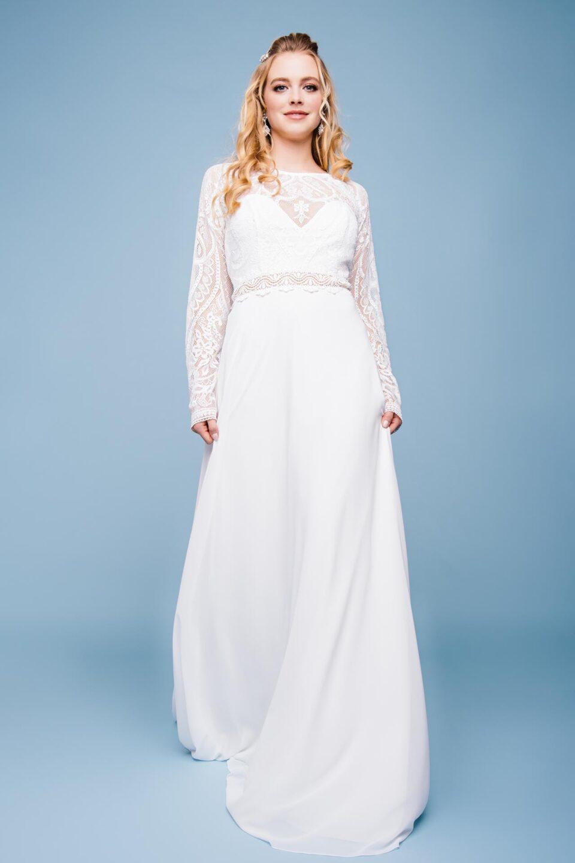 Boho Brautkleid hochgeschlossen