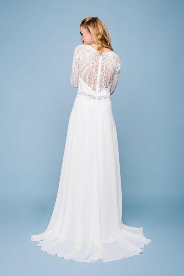 Brautkleid hochgeschlossen – Boho Traum mit Langarm in Spitze – Ila