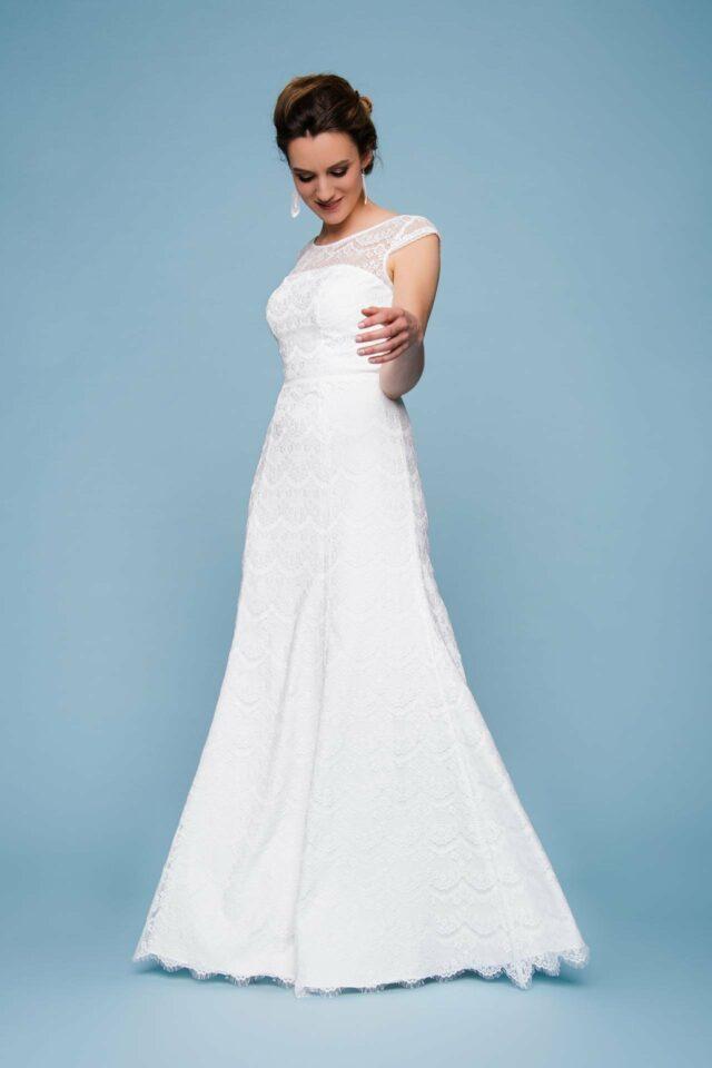 Spitzenkleid zur Hochzeit – schlichte A-Linie mit Flügelarm – Kaja