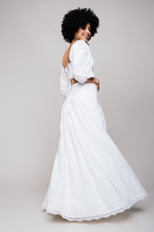 Bauchfreier Brautkleid Zweiteiler mit aufspringendem Faltenrock