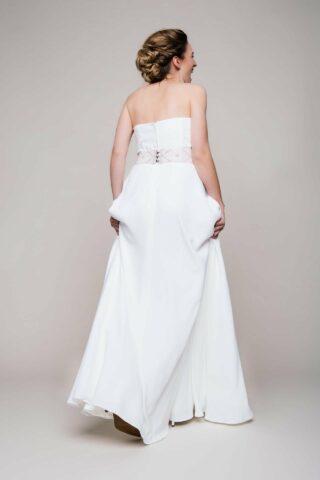 Brautkleid Zweiteiler aus Crepe von hinten