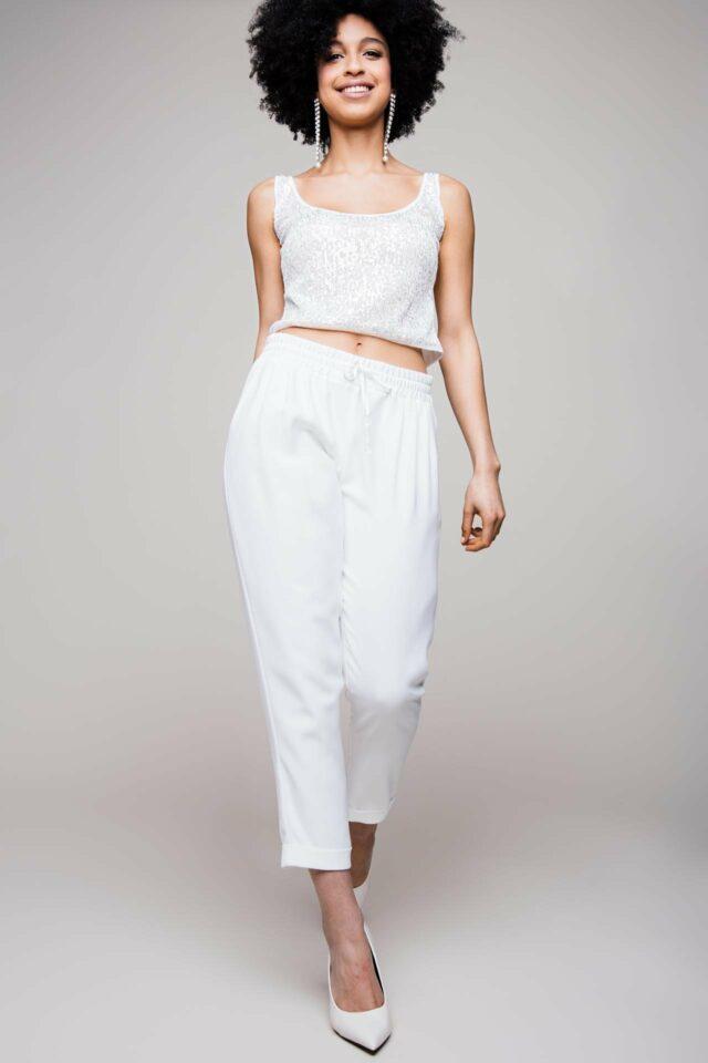 Braut Hose aus Crepe – Edel-Jogger-Pants für coole Bräute