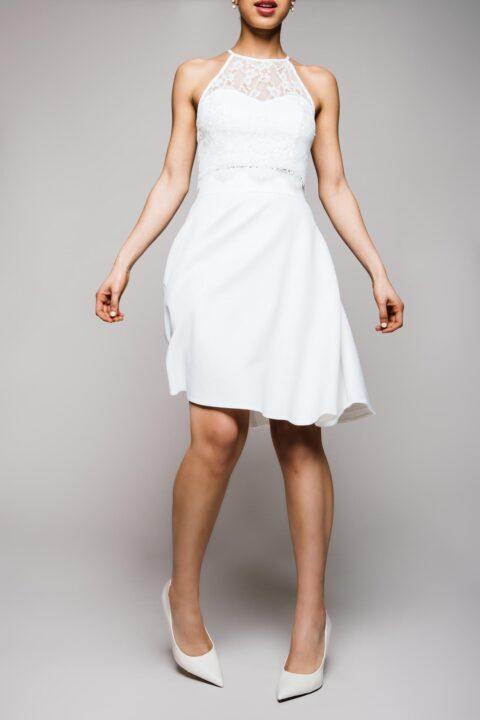 Brautkleid Zweiteiler aus kurzem Stretchrock und Spitzentop
