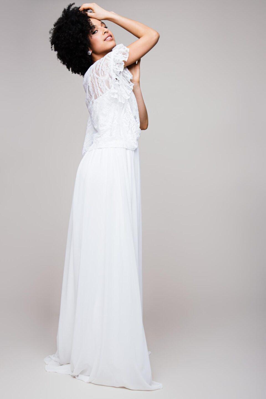 Chiffon-Rock zur Hochzeit mit Braut Shirt aus Paisley Spitze kombiniert
