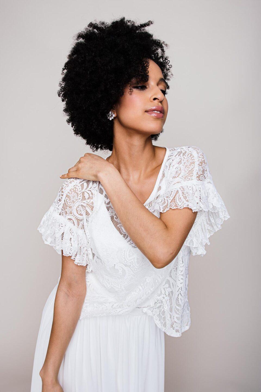 Spitzenshirt Braut mit Paisley Muster