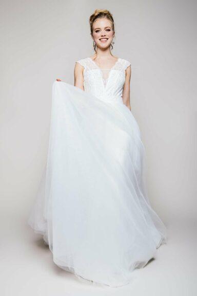 Brautkleid Zweiteiler mit Tüllrock und Spitzenbody