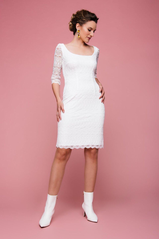 Stretch-Brautkleid mit Karree-Ausschnitt