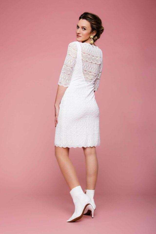 Stretch-Brautkleid mit Karree-Ausschnitt & 3/4 Arm – transparent rückenfrei – Nancy
