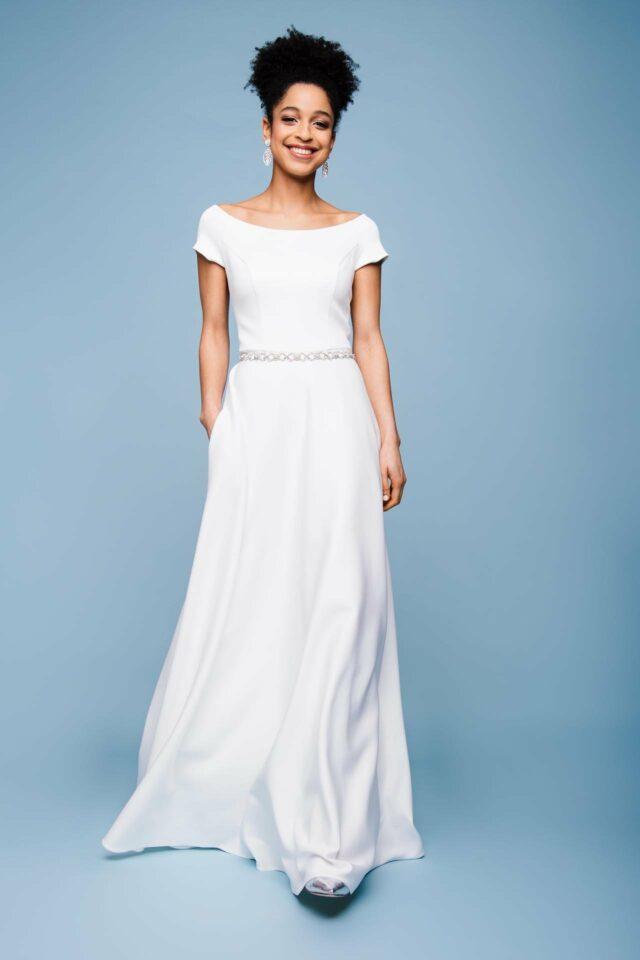 Brautkleid mit U-Boot Ausschnitt und Taschen – Shine