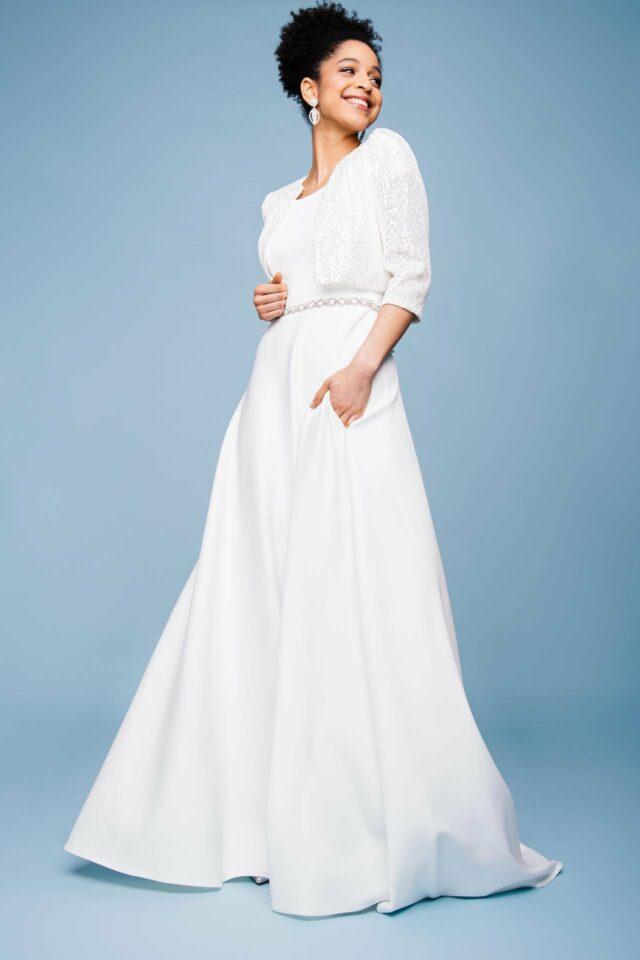 Hochzeitskleid mit Pailetten Jäckchen in 3/4 Arm