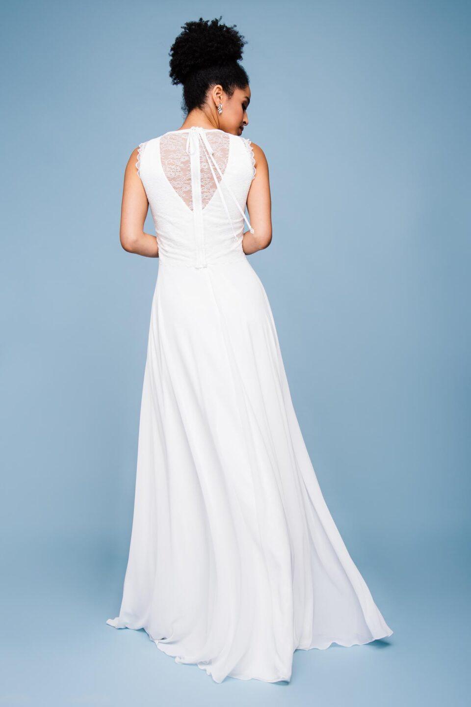 Modernes Hochzeitskleid mit V-Neck hinten