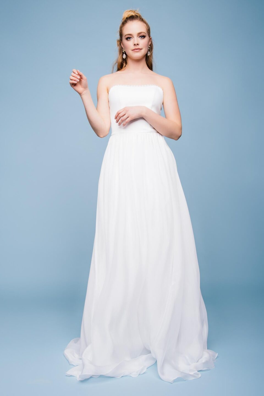 Brautkleid Seide mit zartem Chiffonrock