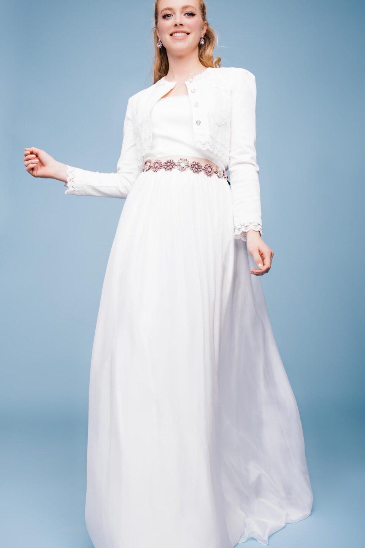 Brautkleid mit Seidenrock und Brautkacke in Colourdenim