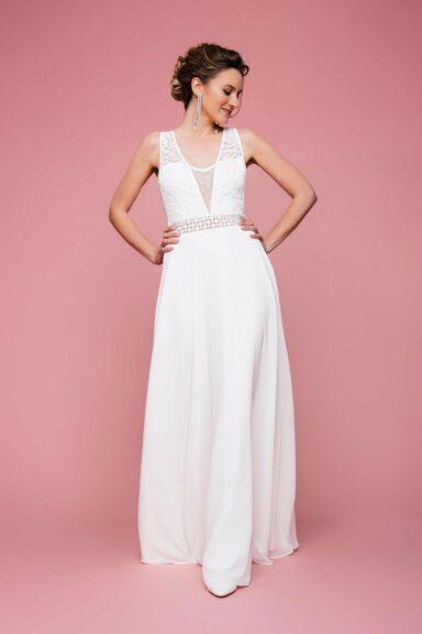 Boho Brautkleid mit Taillenbund