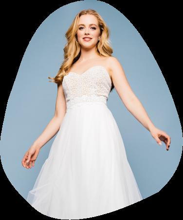Hier findest du schulterfreie Corsagenkleider, in denen du deinen ganz persönlichen Brautlook realisieren kannst. Klingt gut? Ist es auch, schau' gleich selbst bei unseren trägerlosen Lieblingen vorbei.