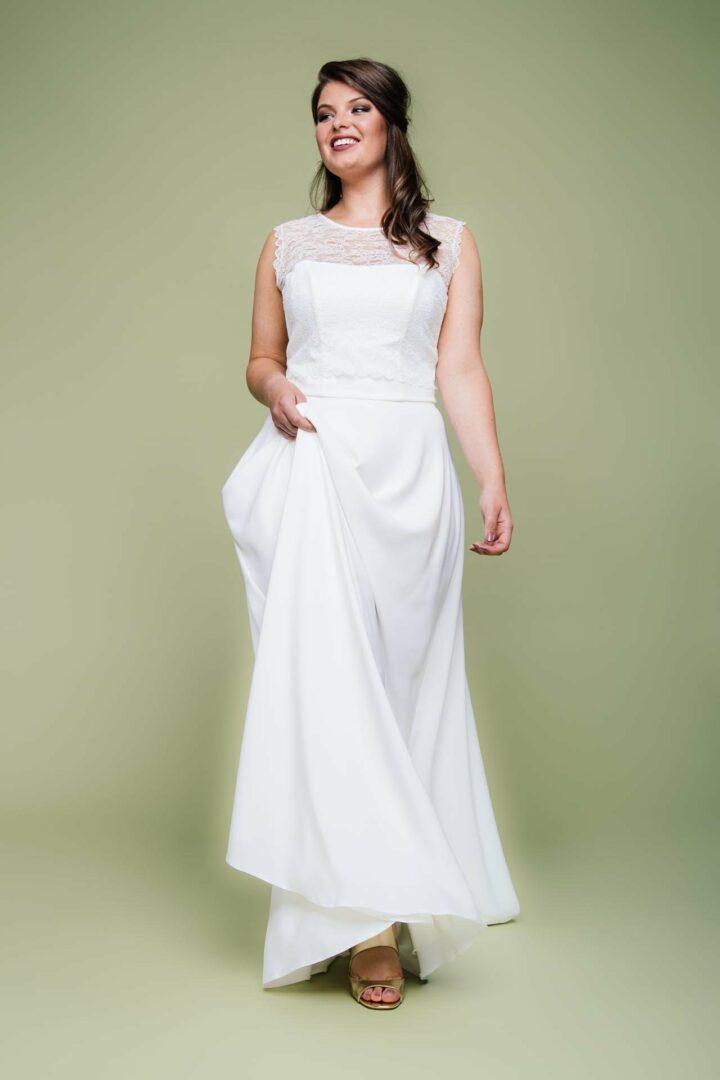 Plus Size Brautkleid Zweiteiler mit Spitzentop und langem Creperock