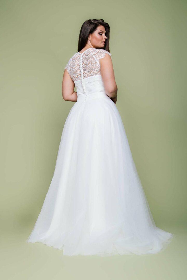Plus Size Brautkledi Zweiteiler aus Tüllrock und Spitzenbolero