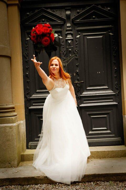 Langer Tüllrock Hochzeit mit Brauttop aus Spitze