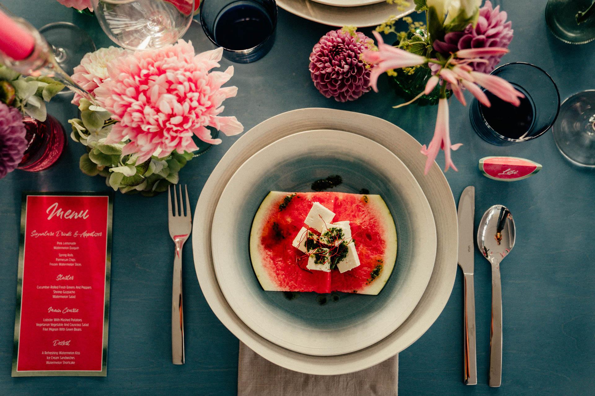 Melone als Hochzeitsthema bei der Tischdeko