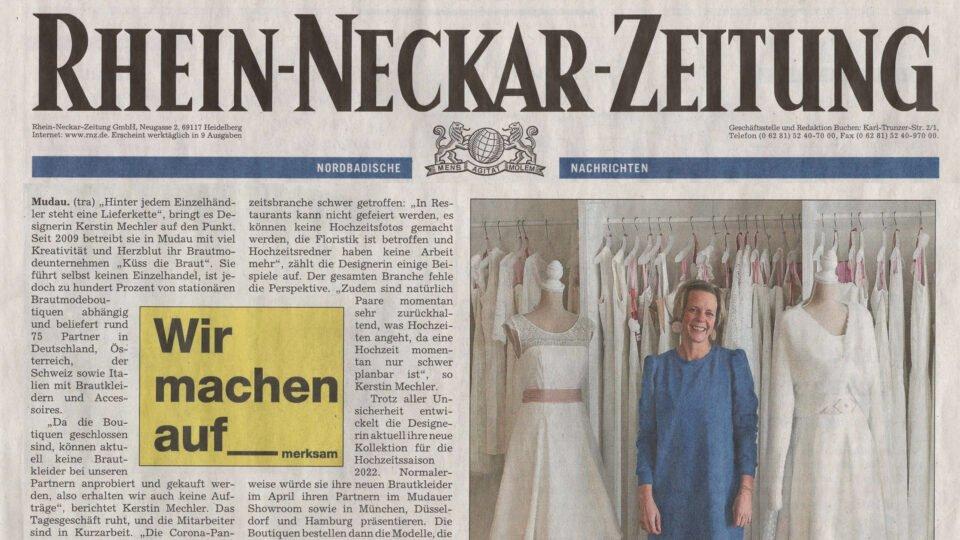 Auswirkungen der Corona Pandemie auf die Hochzeitsbranche, Designerin Kerstin Mechler in der RNZ