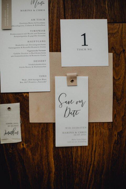 Hochzeitspapeterie für natürliche Hochzeit