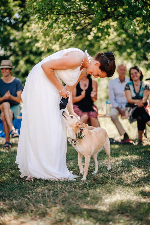 Hund bringt der Braut die Eheringe bei Gartenhochzeit