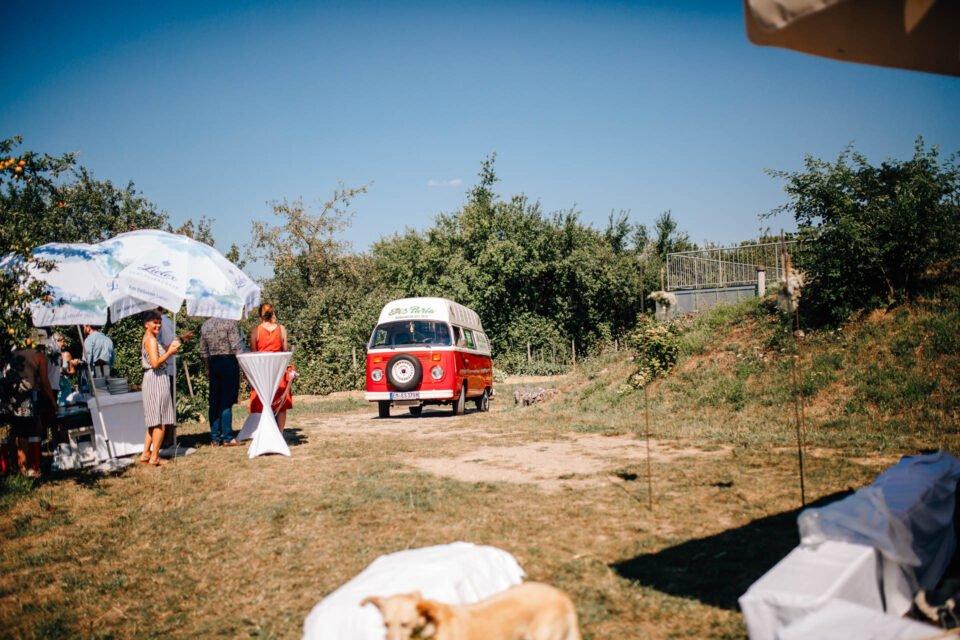 VW Buli als Eiswagen auf Hochzeit