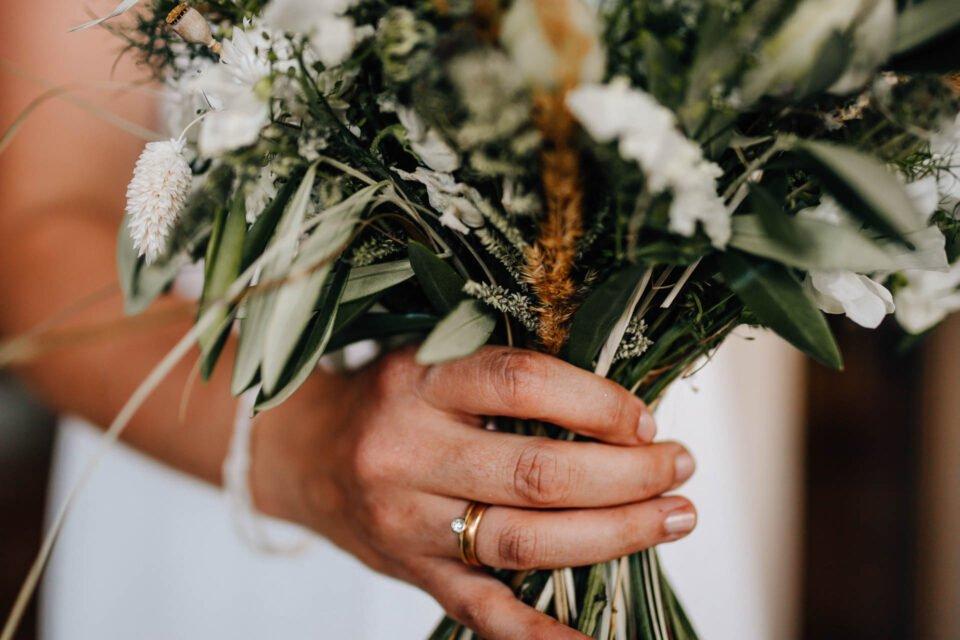 Detailbild von Brauthand mit Ehering