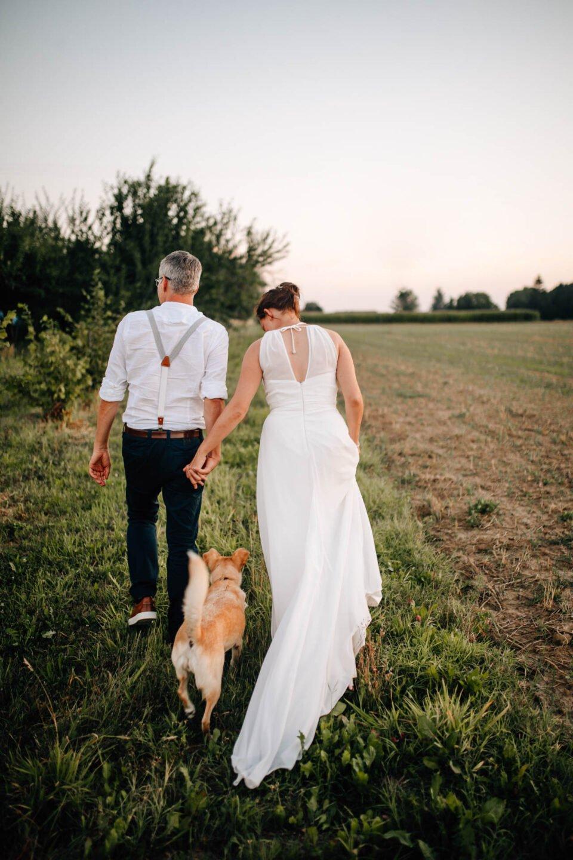 Brautpaar spaziert Hand in Hand mit Hund in der Mitte auf der Wiese