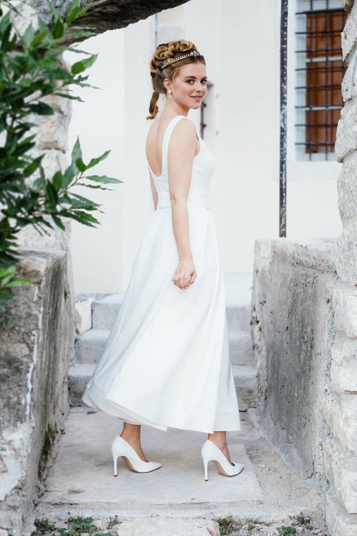 tea length Hochzeitskleid mit Trägern
