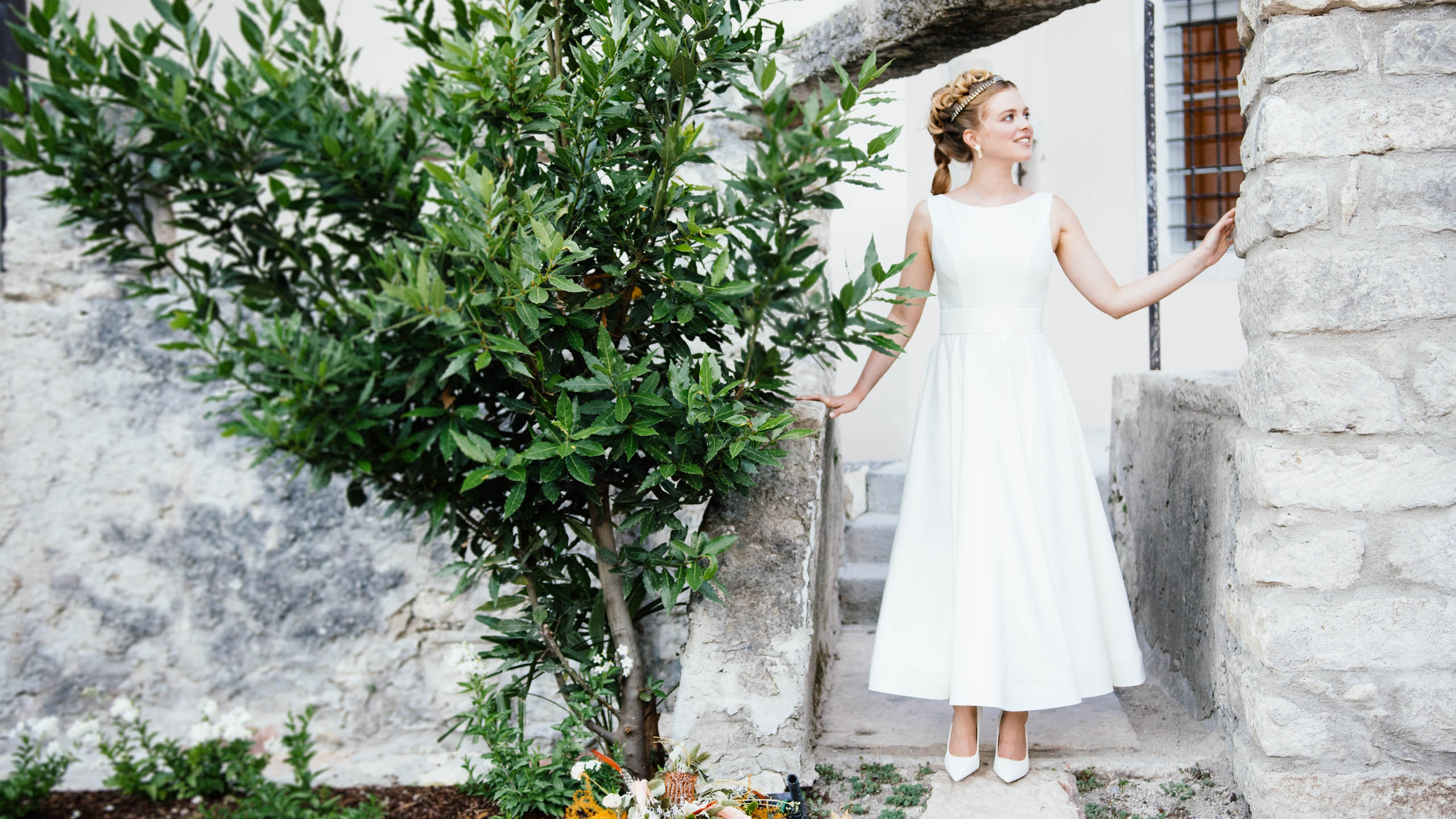 Brautkleid knöchellang mit Trägern