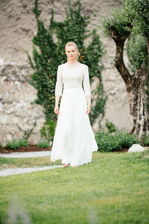 Braut Body aus Spitze mit Hosenrock