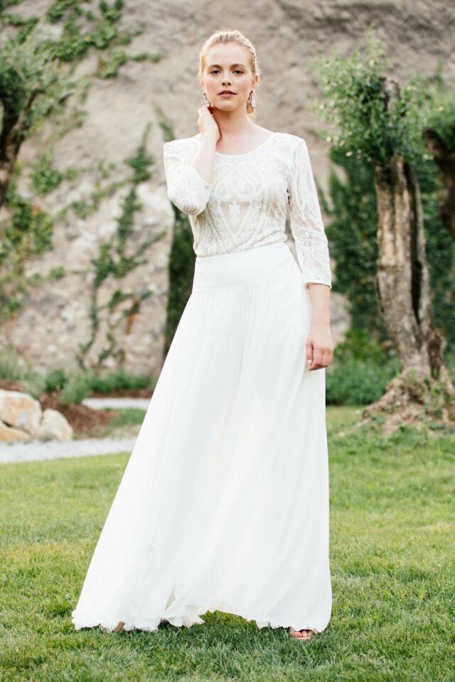 Hosenrock zur Hochzeit – Stylische Brautkombi mit Braut Body aus Spitze
