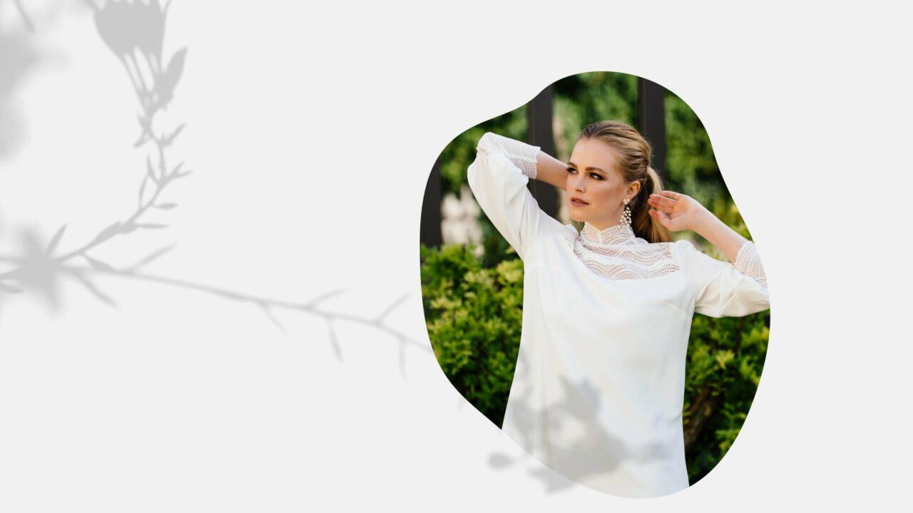 Brautkleid mit Ballonärmel – kurzes Standesamtkleid mit Stehkragen