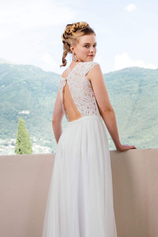 Bohemian Hochzeitskleid mit offenem Rücken