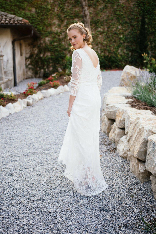 Außergewöhnliches Vintage Brautkleid mit Langarm in transparenter Spitze