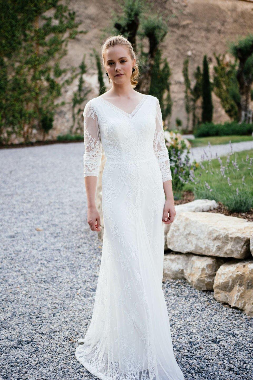 Vintage Brautkleid in Spitze mit extravagantem Chiffoneinsatz