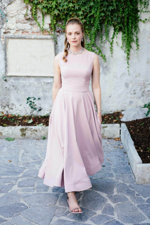 Knöchellanges Brautkleid in Farbe