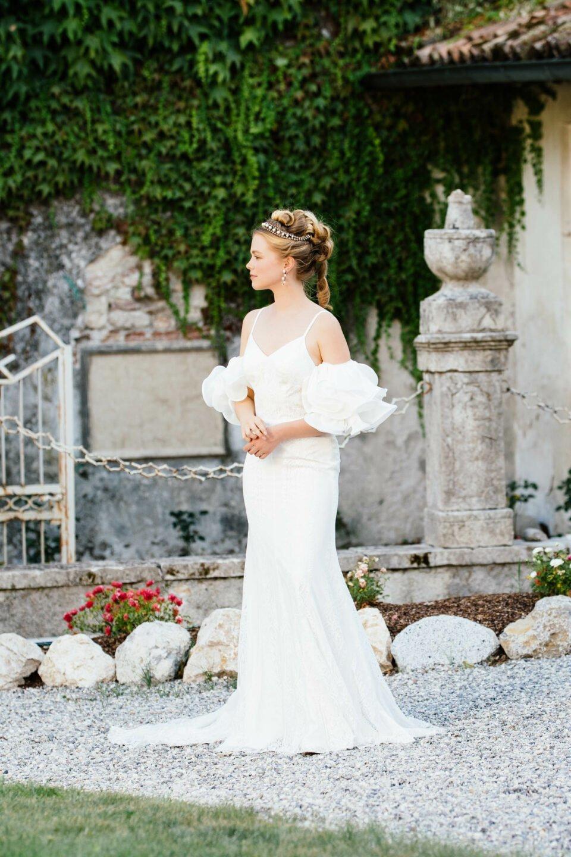 Meerjungfrauen Hochzeitskleid Arielle mit extravaganten Volantärmel