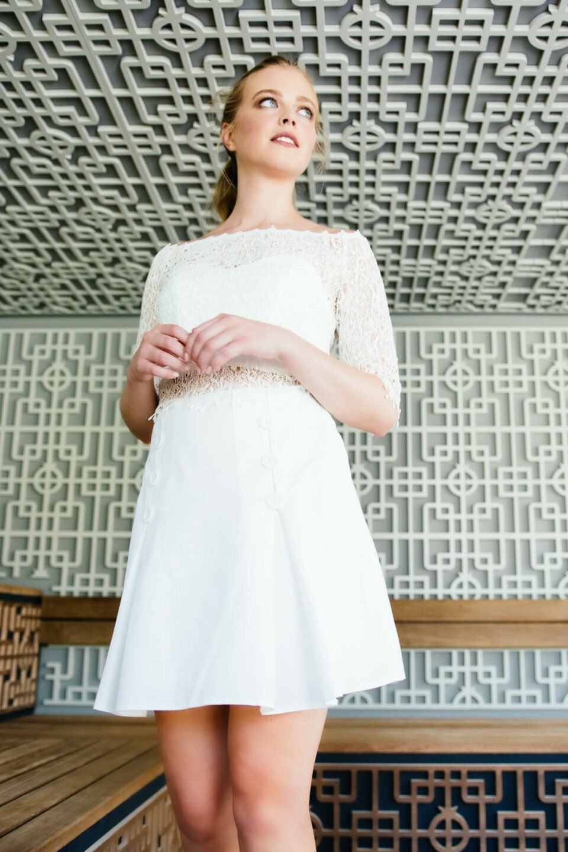 Nachhaltiger Brautkleid Zweiteiler mit Minirock
