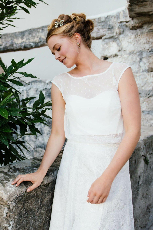 Brautkleid Zweiteiler mit Spitzenrock und Tupfen-Tüll Top