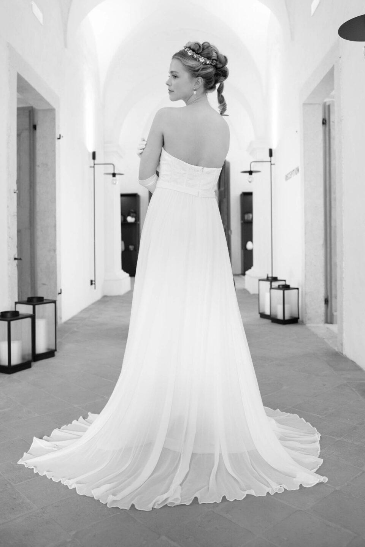 Bridgerton Brautkleid mit tollem Seidenrock und Schleppe