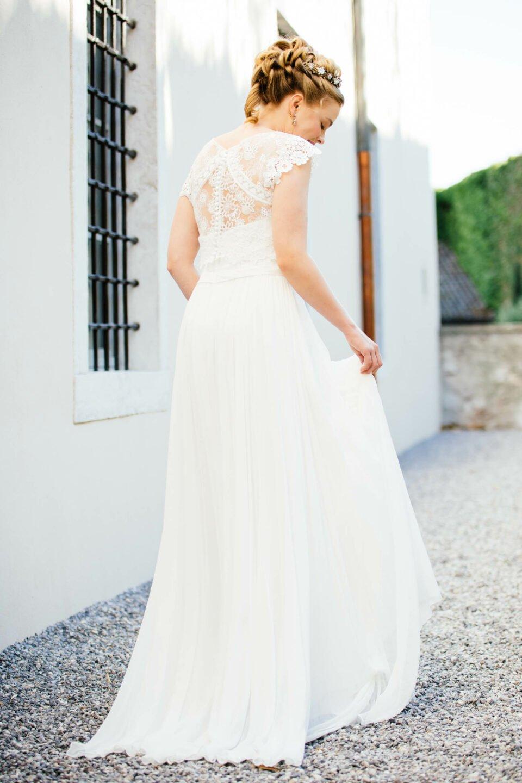 Vintage Hochzeitskleid mit Seidenrock und kleiner Schleppe