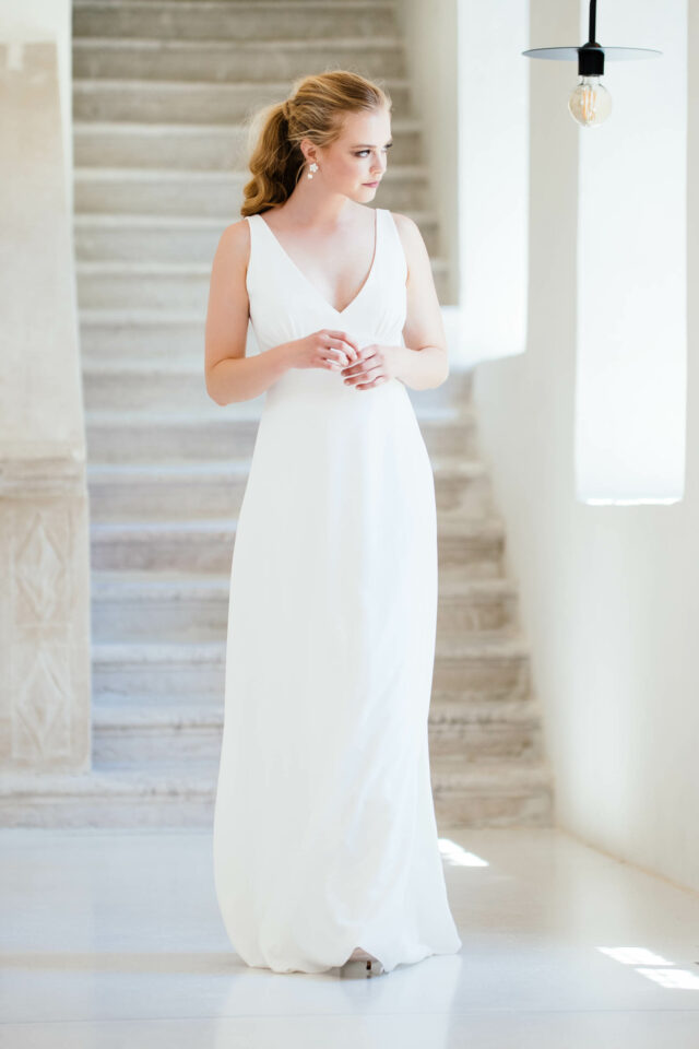 Conscious Brautkleid aus Viskose – Trägerkleid mit tiefem V-Ausschnitt – Rahel