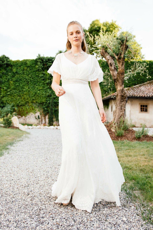 Hippie Hochzeitskleid Fledermausarm Amaryllis