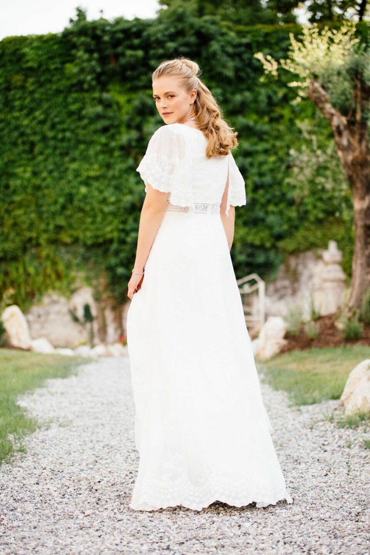 Hippie Hochzeitskleid mit transparenter Taille