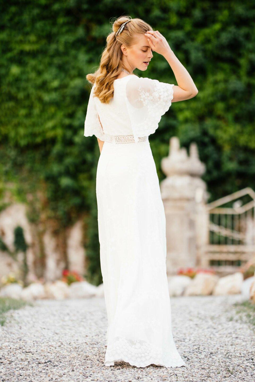 Hippie Hochzeitskleid aus Spitze mit besonderem Arm