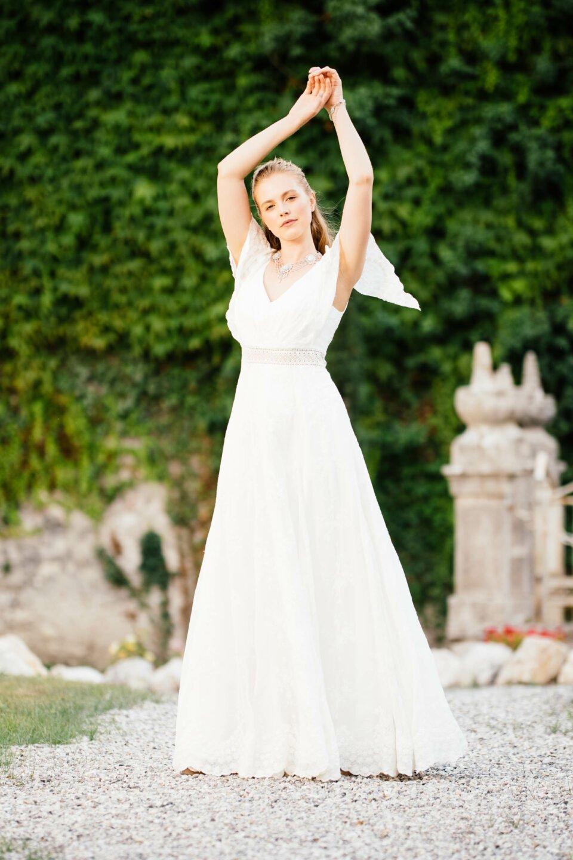 Hippie Hochzeitskleid mit Fledermausärmel